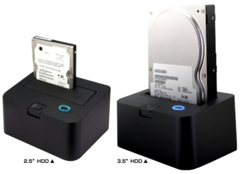 USB Disk Dock illustrating 2.5″ and 3.5″ HDD usage